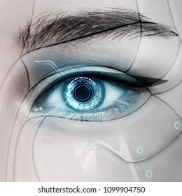 Beautiful glowing cyborg female eye.