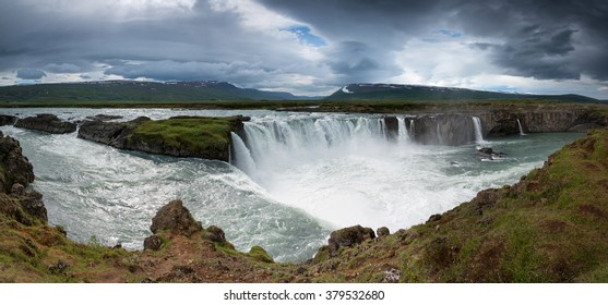 Beautiful Godafoss waterfalls in the end of the day, Iceland