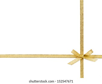 Beautiful gold bow isolated on white background
