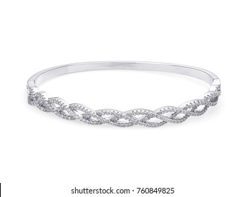 Beautiful gold Bracelet with diamonds, on white background, jewelry