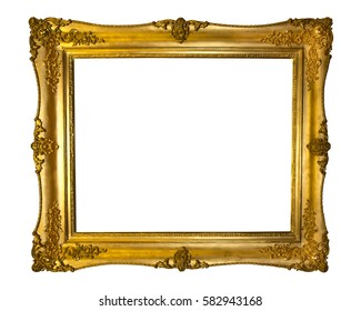Beautiful golden antique frame isolated on white background