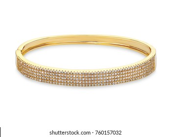 Beautiful golden Bracelet with diamonds, on white background