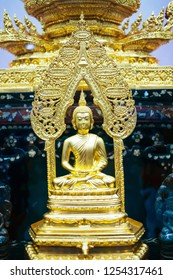Beautiful golden Buddha image Sit cross-legged posture Diamond. The room inside the temple. Concept Buddhist, Buddhism and Buddhists