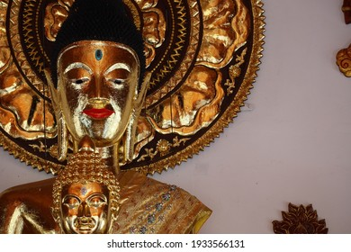 Beautiful golden Buddha image in Thai temple, Thai art and culture. Buddhist beliefs