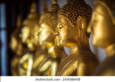 Beautiful Golden Buddha Many statues at Wat Phra Si Rattana Mahathat also colloquially referred to as Wat Yai is a Buddhist temple (wat) It is a major tourist attraction Phitsanulok,Thailand.