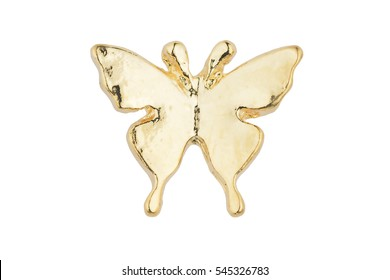 Beautiful golden butterfly-shaped earrings isolated on white background, clipping path included