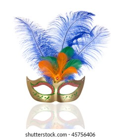 Beautiful golden carnival mask with feathers isolated on white background
