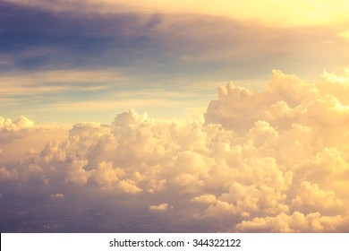Beautiful golden cloud view from aeroplane.