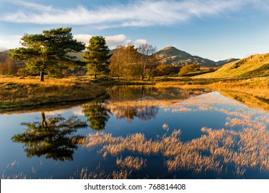 Beautiful golden evening light on an Autumnal evening at Kelly Hall Tarn in the English Lake District.