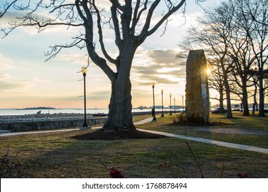 Beautiful golden hour light by the Long Island Sound at Calf Pasture Beach in Norwalk, Connecticut USA