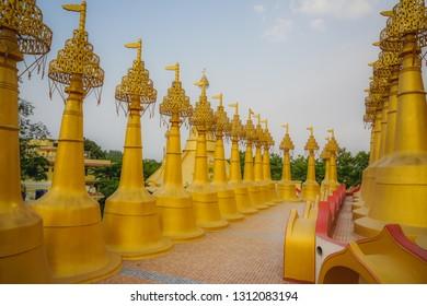 Beautiful golden pagodas in the center of Vipasana practice. Kanpur, India
