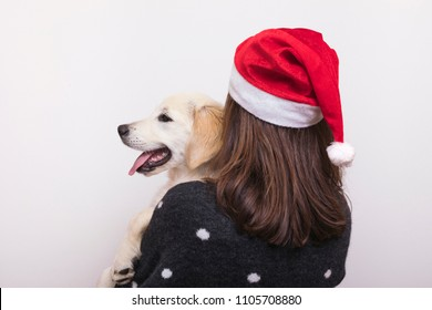 Beautiful Golden Retriever with her owner ready for Christmas