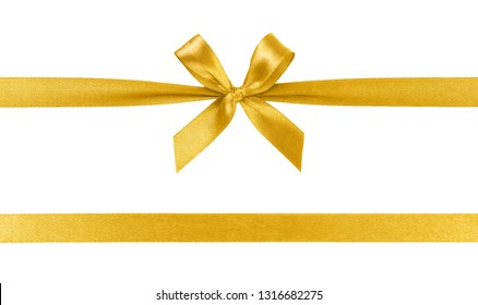 Beautiful golden ribbon with bow isolated on white background.