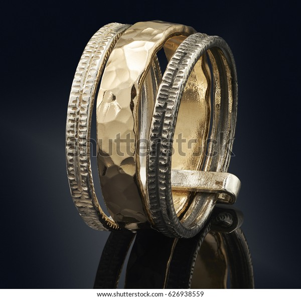 beautiful Golden ring isolated on black background.