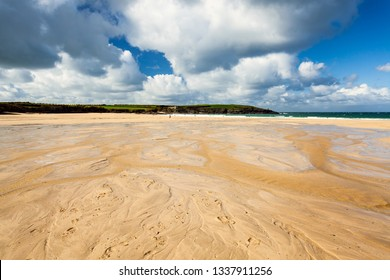 Beautiful golden sandy beach at Harlyn Bay on the North Cornish coast. Cornwall England UK Europe