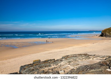 The beautiful golden sandy beach at Hayle Towans in St Ives Bay Cornwall England UK Europe