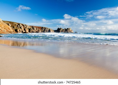 Beautiful golden sandy beach at Porthcurno Cornwall England UK