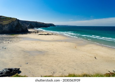 The beautiful golden sandy beach at Porthtowan Cornwall England UK Europe