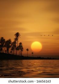A beautiful golden sunset