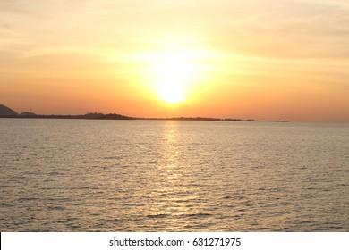 a beautiful golden sunset.