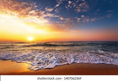 Beautiful golden sunset over the beach.