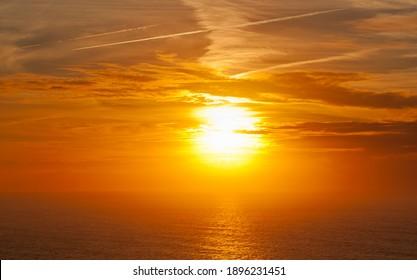 Beautiful golden sunset, sea landscape