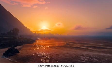 The beautiful golden sunset of the seaside 3D illustration