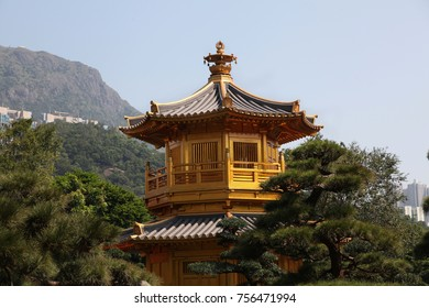 Beautiful golden temple in Nan Lian garden in Hong Kong