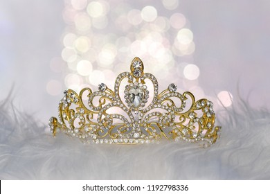 Beautiful golden Tiara with sparkling background