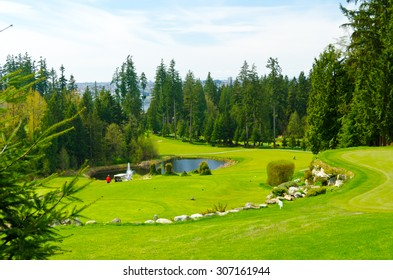 Beautiful golf course with sand bunkers. Vancouver, Canada.