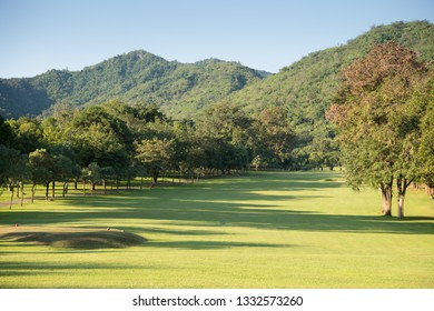 A beautiful golf course in the sunny day