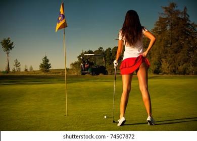 beautiful golf girl
