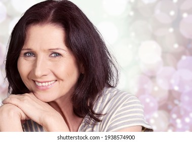 Beautiful gorgeous mature woman. Healthy face skincare beauty,