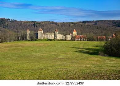Beautiful Gothic castle Veveri. The city of Brno at the Brno dam. South Moravia - Czech Republic - Central Europe.