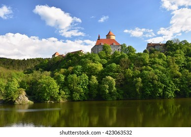 Beautiful Gothic castle Veveri. The city of Brno at the Brno dam. South Moravia - Czech Republic - Central Europe. Spring landscape.