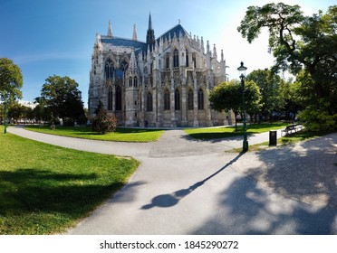 Beautiful gothic church surrounded by a park in Vienna