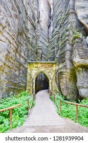 Beautiful Gothic Gate between the rocks in Adrspach rock city, Czech Republic. The magic place in Bohemia is a popular film location, used for example for filming of The Chronicles of Narnia.