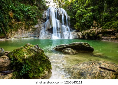 Beautiful Gozalandia Waterfall in San Sebastian Puerto Rico at daylight