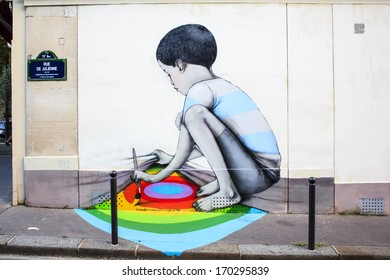 Beautiful graffiti painting in Paris, France