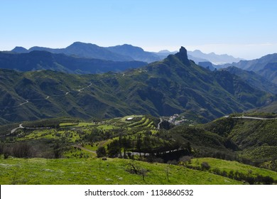 Beautiful Gran Canaria mountain landscape nerar to the town Tejeda and Roque Bentayga, and view on Teide volcan on background. Canary island, Spain