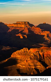 Beautiful Grand Canyon landscape overlook from the Hopi Point with contrast and vibrant and flaming colors, Arizona.