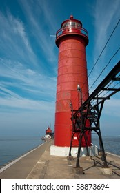 Beautiful Grand Haven Lighthouse in Michigan in Summer