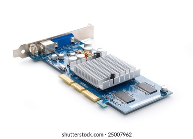 Beautiful graphic accelerator (video computer card) isolated on white