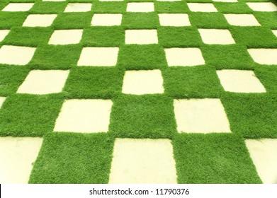 Beautiful grass tiles in a garden.