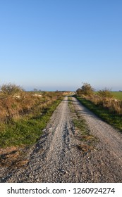 Beautiful gravel road in the countryside at the swedish island Oland