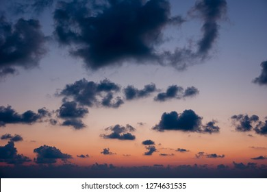 Beautiful gray clouds in bright sunset