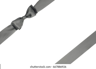 Beautiful gray packing bow on white background