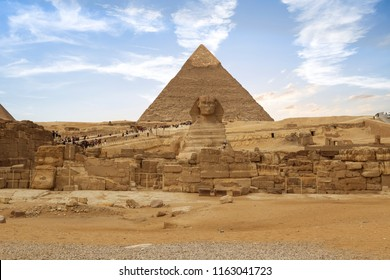 Beautiful  of the Great Sphinx including pyramids of Menkaure and Khafre  in Giza, Cairo, Egypt
