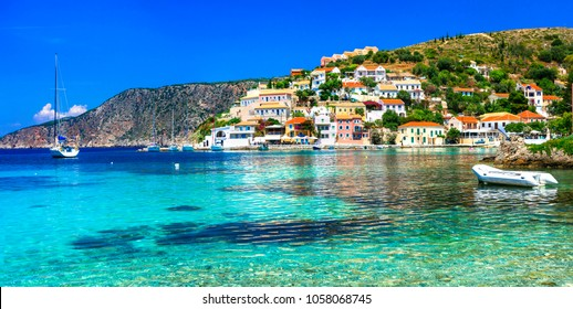 Beautiful  Greece series - picturesque colorful village Assos in Kefalonia island, Ionian islands of Greece
