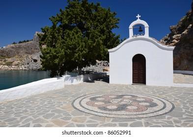 Beautiful greek church in St. Paul Bay, Rhodes